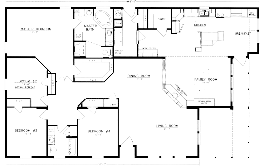 Floor plans evans and evans for Floor plan 4 bedroom 3 bath